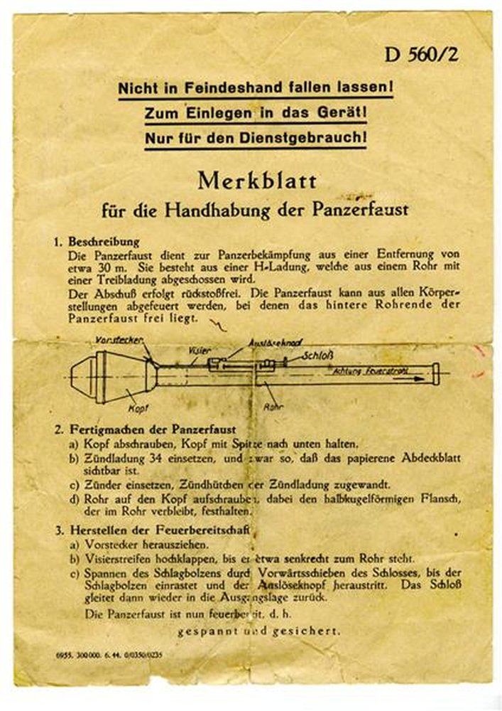 Merkblatt für die Handhabung der Panzerfaust 1943, 120,00