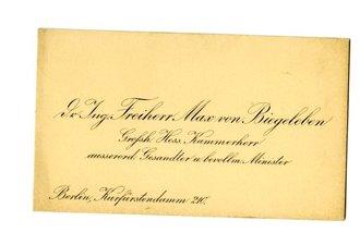 1 Weltkrieg Visitenkarte Dr Ing Freiherr Von Biegelleben