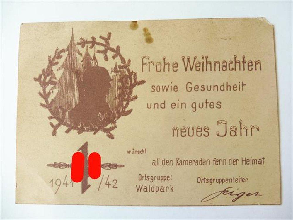 postkarte frohe weihnachten 1941 der ortsgruppe waldpark. Black Bedroom Furniture Sets. Home Design Ideas