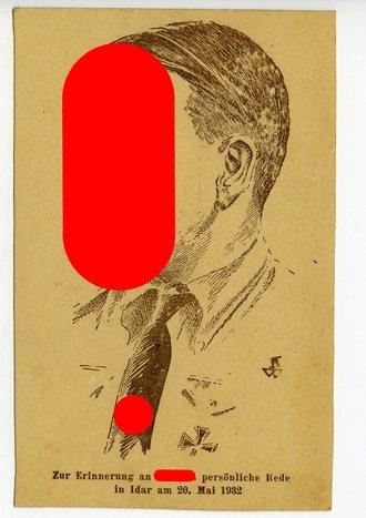 Ansichtskarte  Zur Erinnerung an Hitlers persönliche Rede in Idar am 20.Mai. 1932