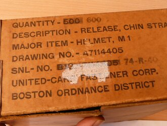 U.S. Army WWII, Release , Chin strap, T1. Unissued, 3 sets from original box