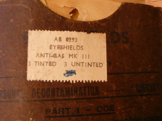 British WWII, Eyeshields, Anti gas MKIII, dated 1944